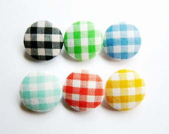 Sewing Buttons / Fabric Buttons - 6 Small Fabric Buttons Set - Gingham Buttons - Fabric Covered Buttons