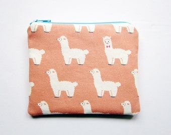 Zipper Pouch - Llamas on Pink - Available in Small / Large / Long