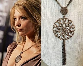 Natalie Dormer Game of Thrones Margaery Tyrell Brass Filigree Tassle Necklace- n664