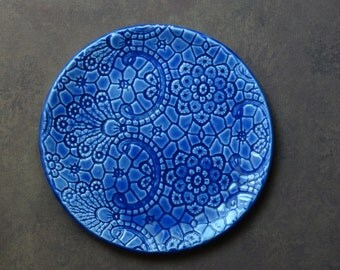 Blue, decorative, ceramic, small, plate