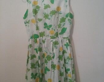 Vintage Handmade Cotton Sleeveless Spring Summer Dress Pleated Green Yellow Flowers Butterflies Small Size 2-4