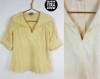 Super Comfy Vintage 70s Cream / Pastel Yellow Gauzy Cotton Boho Top!