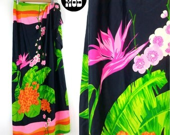 Cool Vintage 60s 70s Spandex Wrap Skirt with Bold Neon Bird Of Paradise Floral Motif! Great for the Beach!
