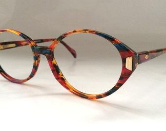 80s Vintage Multi Opal Stone Color Oval Frame Ladies Eyeglasses