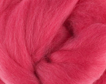 18 Micron Wool Roving - 50 grams (1.75 oz) - Lipstick