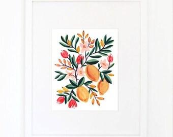 Kitchen Lemons Watercolor Gouache Print