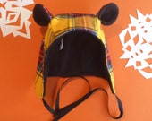 YELLOW Plaid Fabric Winter Bear Hat- Toddler, Kids, and Adult Sizes!