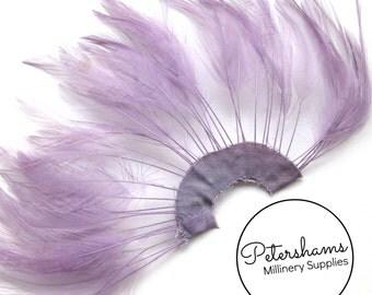 Stripped Hackle Feather Fan for Fascinators & Hat Making - Amethyst Purple