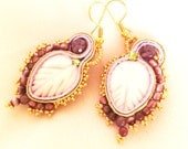 Drop rose soutache earrings, mother of pearl leaf romantic earrings, amethyst green and gold soutache earrings