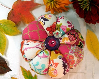 Pincushion- Falling Leaves Low Patchwork Pincushion- Ready To Ship
