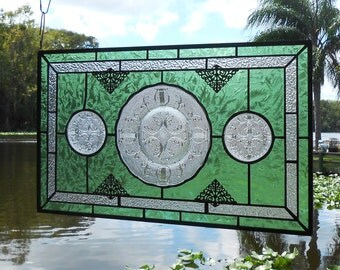 Stained Glass Window Panel, Vintage 1950s Jeannette Glass Harp Stained Glass Plate & Coasters, Antique Transom Window w/ Depression Glass