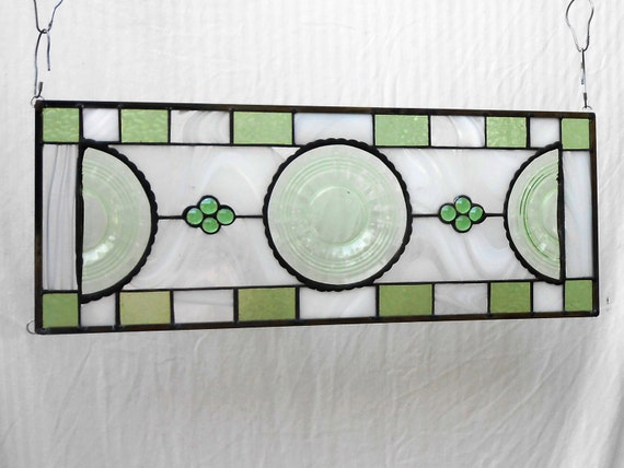 Stained Glass Window Panel W 1930s Banded Rings By