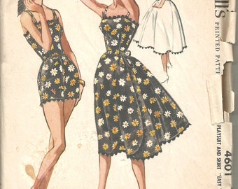 Vintage 50s 1950s Playsuit and Skirt Play Suit 36 bust McCalls 4601 size 16 UNCUT