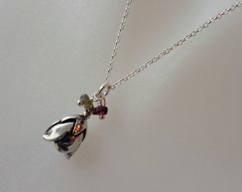 Sterling silver rose & tourmaline necklace, sterling silver, gemstone, womens gift, artisan jewelry, unique design, pretty, pendant