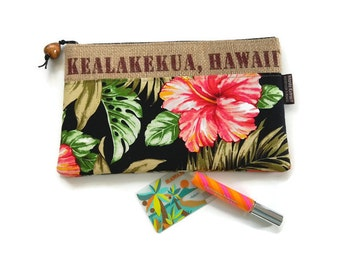 Repurposed Hawaii, USA Coffee Bag with Hibiscus Print and Koa Pull. Handmade in Hawaii.