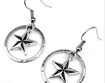 Silver Star Earrings, Nautical Star Earrings, Hammered Ring and Star Dangle Earrings