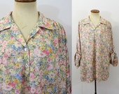 Boho Tunic Top Oversized 70s Floral Blouse Pastel Vintage 1970s Half Sleeve Shirt Silky Oversize Hippie Flowy Loose Fit V Neck Long Large