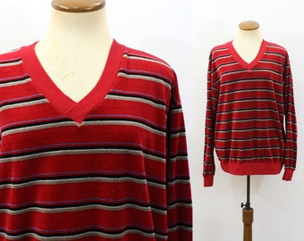 VELOUR Pullover Shirt 1970s V Neck Striped Slouchy Retro Soft Fuzzy Velveteen Red Stripe Vintage 70s Hipster Surf Sweatshirt