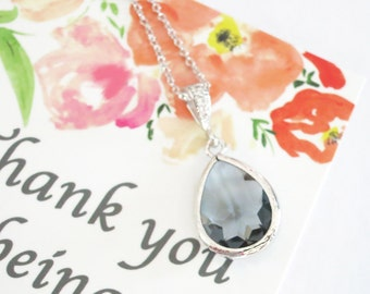 SALES Sophia - Black Diamond Grey Glass Teardrop Necklace,  gifts for her, wedding, simple Bridal Bridesmaid necklaces Earrings Jewelry set