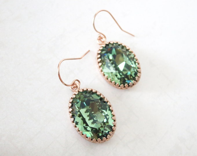 Rose Gold Erinite Green Earrings ROSE GOLD FILLED Ear wires, Swarovski Crystal Oval Bridal Bridesmaid Wedding Vintage Earrings
