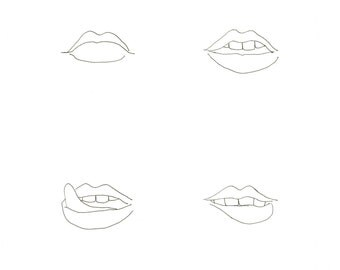 minimalist ink print: Lips, Line