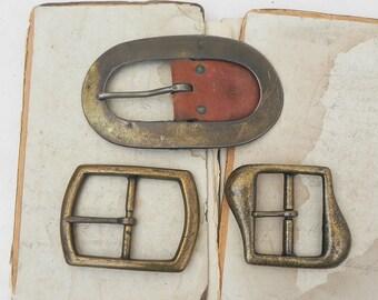 3 salvaged vintage brass belt buckles Vintage Sewing DIY Repurpose