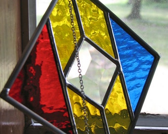 4x4 Primaries Stained Glass Suncatcher