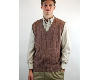1960s vest knit vest Repp heather cable knit preppy sweater vest Size L