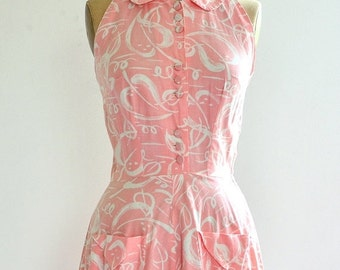 vintage 1950s dusty rose dress • halter dress • peach 50s day dress