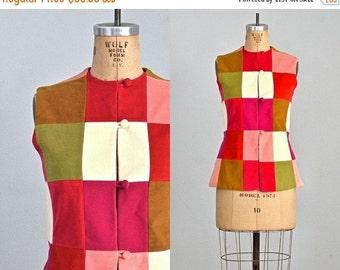 45% OFF SALE.... vintage 1960s colorblock blouse  • velvet blouse • vintage 60s blouse • medium