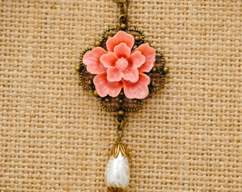 Pink Sakura Flower Drop Pearl Necklace - Victorian Necklace - Bridesmaid Jewelry