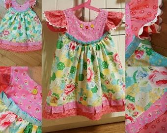 Floral Flutter Dress, size 3/4T