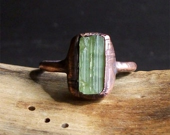 Tourmaline Rough Stone Jewelry Dual Stone Size 9 Green Natural Ring Raw Crystal Gemstone Copper Ring