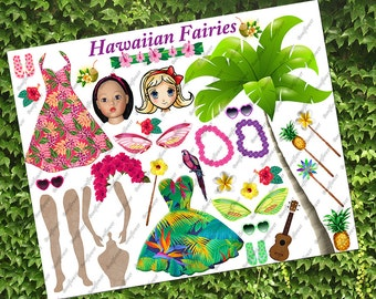 Digital Download Paper Dolls Fairy Hawaii Collage Sheet Altered Art Toy Game Scrapbooking Journal