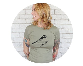 Chickadee Bird Shirt, Women's Clothes, Army Green Tshirt, Short Sleeve Cotton Crewneck, Hand Screenprinted, Light Olive Drab, Christmas Gift