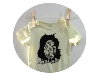 Burrowing Owl Baby Bodysuit in Butter Yellow, Infant Creeper, Snapsuit, One piece