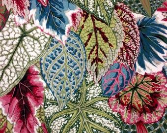Philip Jacobs Coleus, natural OOP, rare, vhtf, scant half yard, botanical leafy fabric, Kaffe collective
