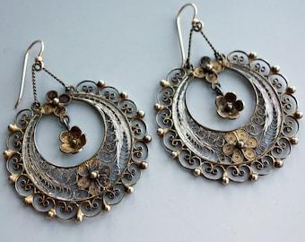 Filigree Sterling Gold Wash Gypsy Rose Hoop Earrings