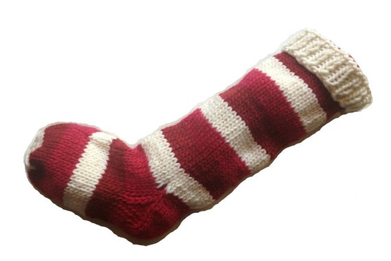 Hand Knit Christmas Stocking 2 Shades of Red and White Striped Wool Santa Sock