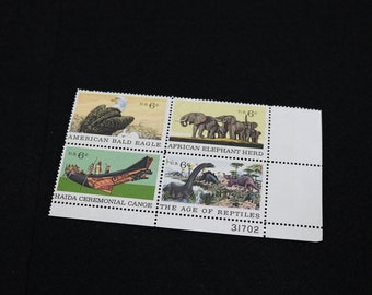 Scott No. 1387, 1388, 1389, 1390 Bald Eagle Natural History 1970 US Stamp Plate Block - Commemorative 6c Vintage US Postage Stamps