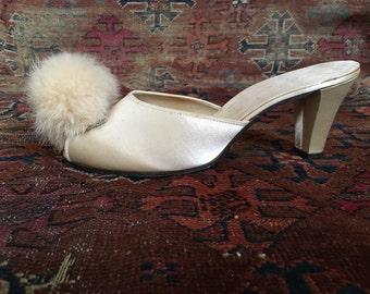 Pin Up Peep Toe Boudoir Slippers 50s