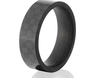 Carbon Fiber Custom Ring with Comfort Fit, 7mm width:7F-ACF