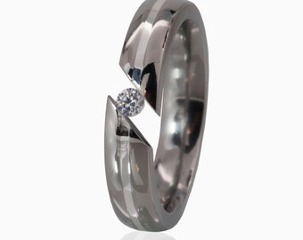 Bypass Tension Set Titanium Ring Silver Inlay Ring Titanium Promise Ring Bypass Tension Set Titanium Ring : TI-5HR11G-SS-.25-Bypass