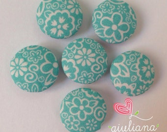 Fabric Buttons - Covered Buttons - Handmade Buttons - Blue Flowers - Cotton Fabric - Set of 6 Buttons