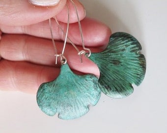 Ginkgo Earrings,Verdigris Green Patina Earrings,Leaf Earrings,Gifts for Sister,Art Nouveau Jewelry Leaf Fall ,Nature Lover Rustic Jewelry