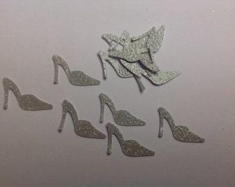50 pc Silver glitter  high heel shoe confetti
