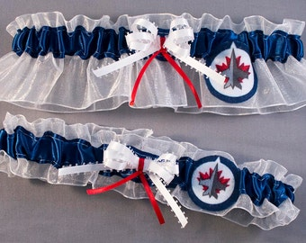 Winnipeg Jets Hockey Wedding Garter Set, Can be Personalized with Names or Date