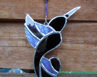 Stained Glass Hummingbird-Handmade-Suncatcher-House Warming-Anniversary-Gift for Him or Her-Mothers Day-Fathers Day-Window Decor-Unique-Bird