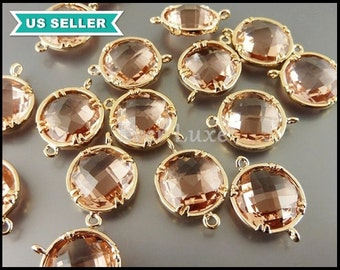 2 pcs large 13mm round faceted glass stones with loops, champagne blush color stone with gold bezel frame 5014G-CH-13