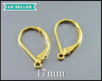 10 pcs of 17mm leverback earrings in shiny gold, lever back earrings, leverback earwires, gold leverback earrings B125-BG